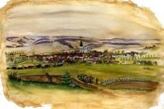 Gemälde von Gefrees, welches die Stadtansicht um 1840 zeigt (Severina Lang, 2008)